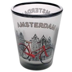 Typisch Hollands Schnapsglas mattiert Amsterdam Fahrrad
