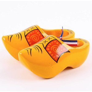 Typisch Hollands Wooden shoes - yellow peasant band - 14 cm