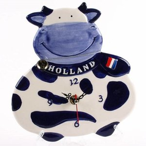 Typisch Hollands Wandklok Koe 15 cm - Delfts