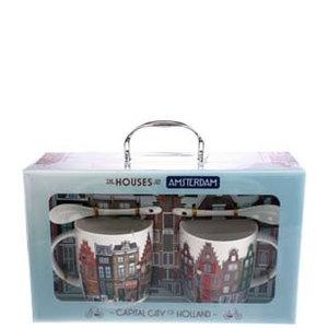Typisch Hollands Geschenk-Set 2 Tasse und Untertasse + Löffel