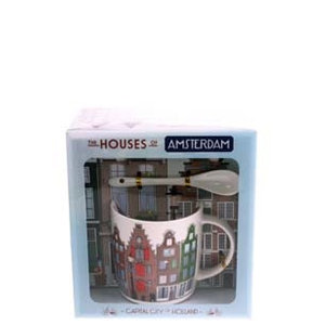 Typisch Hollands Mug, spoon, dish Amsterdam houses