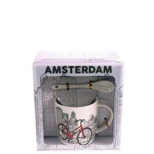 Typisch Hollands Mok,lepel,schotel Amsterdam Bike City