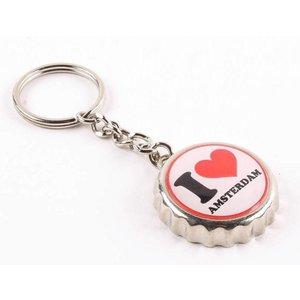 Typisch Hollands Keychain kroonkurk I love Amsterdam
