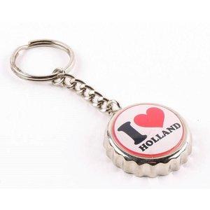 Typisch Hollands Keychain kroonkurk I love Holland