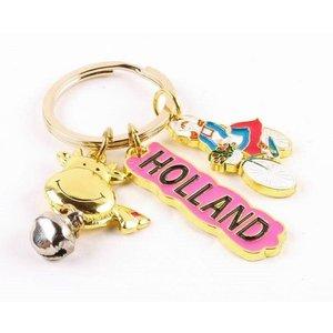 Typisch Hollands Schlüsselanhänger Kuh / Fahrrad Holland Gold
