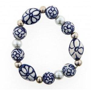 Typisch Hollands Kinder-Armband blaue Perlen und weiße Perle