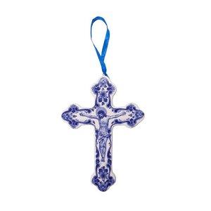 Typisch Hollands Kerstornament kruis met Jezus afbeelding