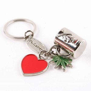 Typisch Hollands Keychain charms cup / heart / weed silver