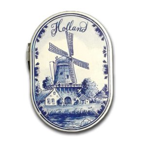 Typisch Hollands Spiegeldoos molen Delfts blauw Holland