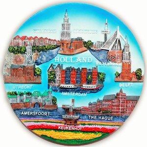 Typisch Hollands Wandplatte Farbe - Holland 20 cm