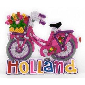 Typisch Hollands magneet polystone fiets roze Holland