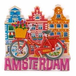 Typisch Hollands Magneet  rode fiets met huisjes Amsterdam