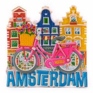 Typisch Hollands Magneet  roze fiets met huisjes Amsterdam