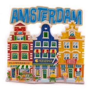Typisch Hollands Magneet  3 huisjes Amsterdam blauw