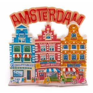 Typisch Hollands Magneet 3 huisjes Amsterdam rood