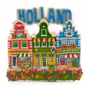 Typisch Hollands Magneet 3 huisjes Holland blauw