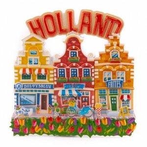 Typisch Hollands Magneet  3 huisjes Holland  - rood