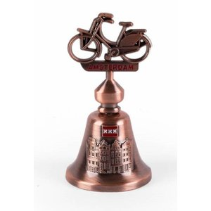 Typisch Hollands Table Bell Amsterdam with Bike copper colored