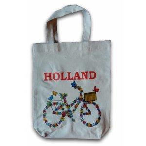 Typisch Hollands ECO Shopper - Fiets - Bloemetjes