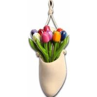 Typisch Hollands Klomp-Plantenhanger gevuld met houten Tulpen