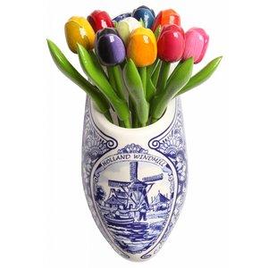 Typisch Hollands Delfter Blau Holzschuh Tulpen im Holzschuh -