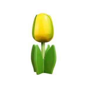 Typisch Hollands Holz Tulpe auf einem Sockel 14 cm - gelb - grün