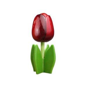 Typisch Hollands Holz Tulpe auf einem Sockel 14 cm Dunkelrot