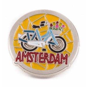 Typisch Hollands Pin blauwe fiets Amsterdam zilver