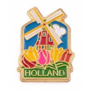Typisch Hollands Pin molen met tulpen Holland goud