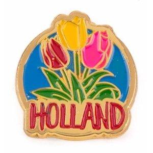 Typisch Hollands Pin met 3 tulpen Holland goud