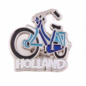 Typisch Hollands Pin fiets blauw Holland zilver