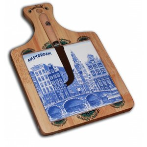 Typisch Hollands Käsebrett mit Messer - Delftware - Amsterdam