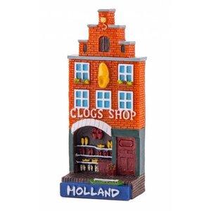 Typisch Hollands Magneet gevelhuisje Clog shop Holland