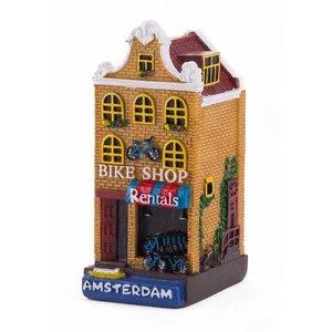 Typisch Hollands Gevelhuisje Fahrradgeschäft Amsterdam