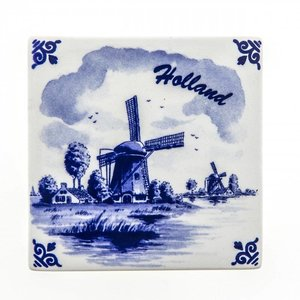 Typisch Hollands Delft blue tile - Molen - Holland