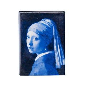 Typisch Hollands Magneet rechthoek meisje met de parel