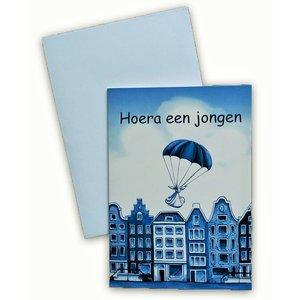 Typisch Hollands Doppelte Grußkarte - Hurra ein Junge!