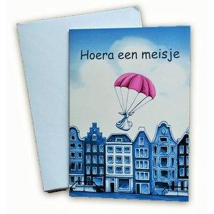 Typisch Hollands Dubbele wenskaart - Hoera een meisje!