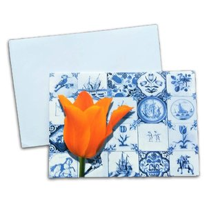 Typisch Hollands Double greeting card - Holland Tulip and Tiles