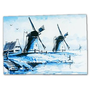 Typisch Hollands Single card - Delft blue - Classic with mill landscape