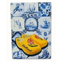 Typisch Hollands Einzelkarte - Delfter Blau - Classic mit Holzschuhen
