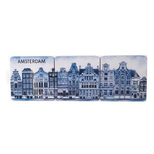 Typisch Hollands Delfts blauwe onderzetters  Gevelhuizen 6 stuks