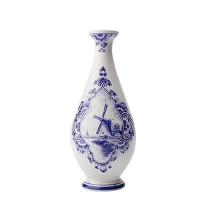 Typisch Hollands Delft blue vase - slim with mill