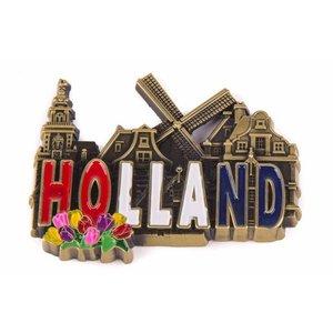 Typisch Hollands Magnet metal Holland Village scene - Bronze