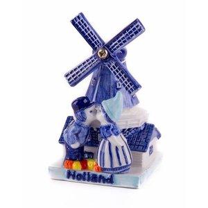 Typisch Hollands Delfts blauwe - Molen met kuspaar 7 cm Holland