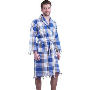 Allesvoordesauna Hamam badjas Blauw classic geruit