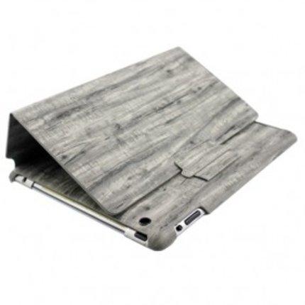 Batts Grey Wood Grain Leather Skin Case for iPad 4/iPad 3/iPad 2