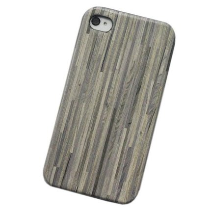 Batts Wooden Leather Skin Hout Leer Hard Case voor iPhone 4 hout leer hoes