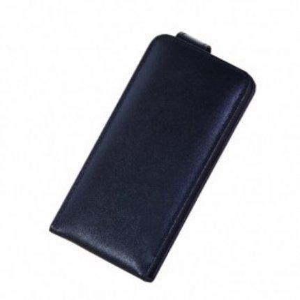 Batts Zwarte verticale Smooth Grain Real Leather Case voor de iPhone 5