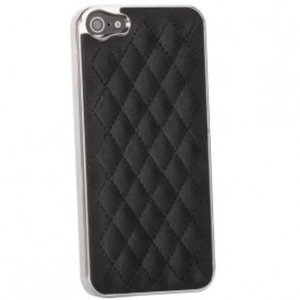Batts Black Plaid Leather skin case with Chrome Side for iPhone 5